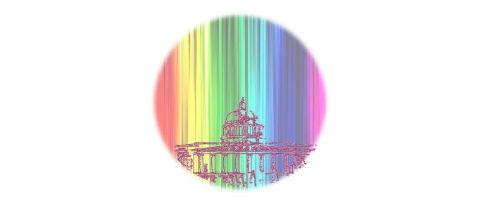 a circular image showing an outline of Nottingham Council House on a rainbow background.