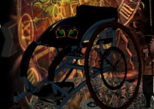 'Time on a Wheel' detail, digital collage in steampunk style, by Antonia Sara Zenkevitch