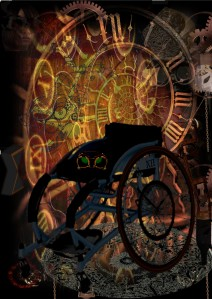 a wheelchair with wheels made of clocks zooms through a spiral of time